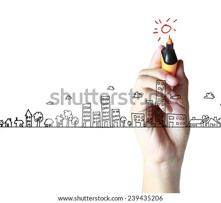 Business man drawing a house  - stock photo