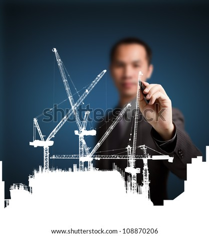 business man drawing construction site project ( building development ) - stock photo