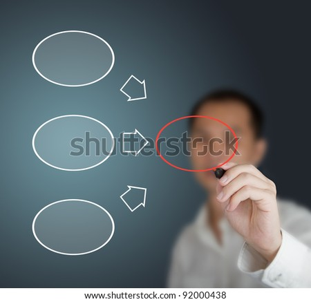 business man drawing diagram on whiteboard - stock photo
