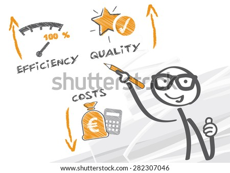 business man drawing efficiency concept - stock photo