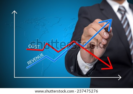 Business man drawing graph of profit compare with cost - stock photo