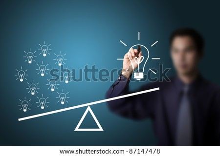business man drawing many small idea have more weight than one big idea - stock photo