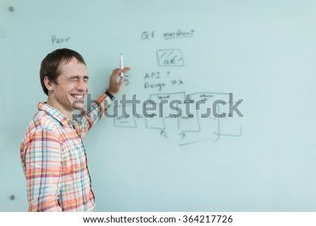 Business man drawing office white board marker development plan sketch - stock photo