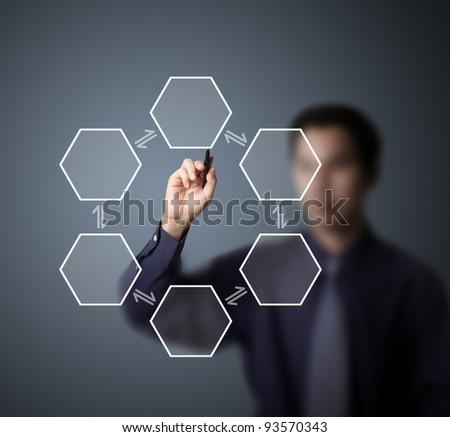 business man drawing reversible circle process diagram - stock photo