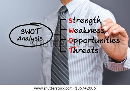 business man drawing swot of marketing diagram - stock photo