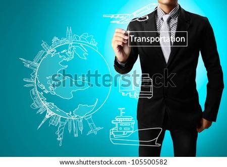 Business man drawing Transportation - stock photo