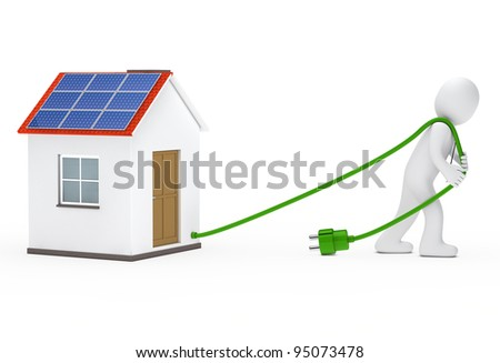 business man draws a house with solar - stock photo