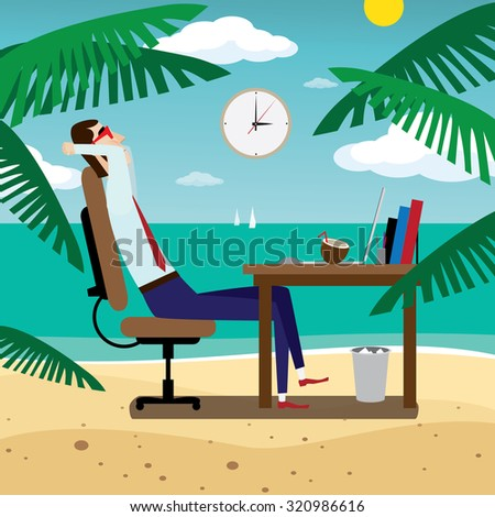 Business man dreaming about ocean coast | raster version - stock photo
