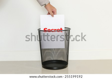 Business man drop a useless paper in to the trash - stock photo