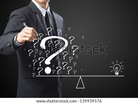 business man eliminate problem and find solution - stock photo