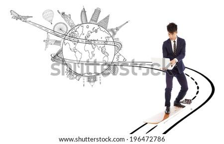 business man enjoy high speed network bandwidth for worldwide web - stock photo
