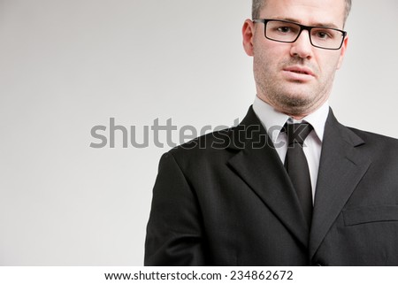 business man fed up enough about bureaucracy and other problems like loss of time and money  - stock photo