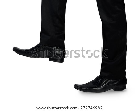 Business man foot step up - stock photo