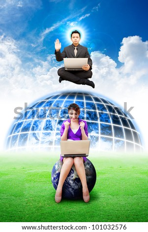 Business man from heaven to help smile lady on globe : Elements of this image furnished by NASA - stock photo