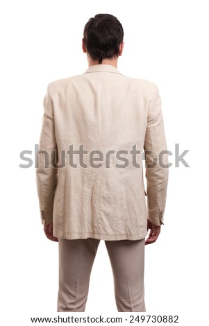 business man from the back looking at something over a white background