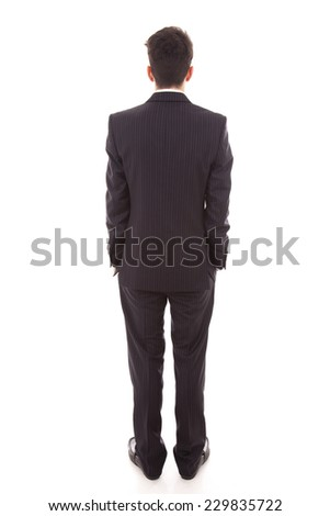 business man from the back over a white background - stock photo