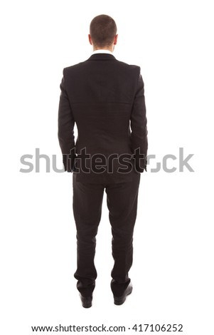 business man from the back over a white background