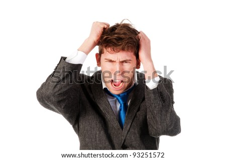 business man getting crazy isolated on a white background - stock photo