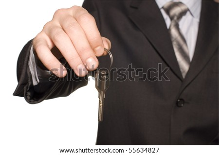 business man give a key isolated over white - stock photo
