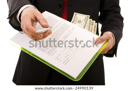 Business man giving a pen to sign a contract (home made contract)- Focus on the hand - stock photo