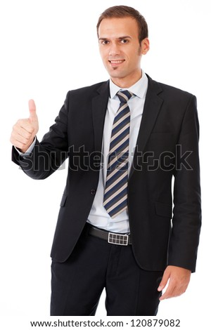business man giving presentation on white background - stock photo