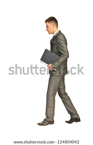 Business man going to work isolated on white background - stock photo