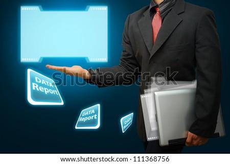 Business man got data report - stock photo