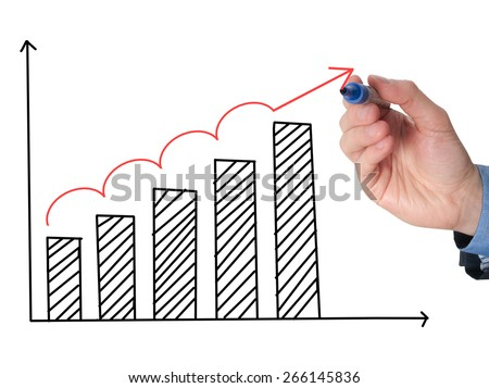 Business man hand drawing a graph. Growth concept. Isolated on white background. Stock Image - stock photo