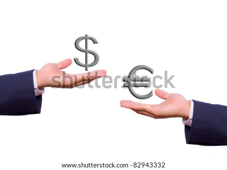 business man hand exchange dollar and euro sign