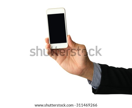 business man hand holding Smartphone with blank screen on white background - stock photo