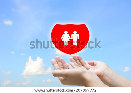 Business man hand insurance concept  - stock photo