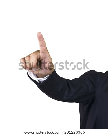 business man hand pointing in suit isolated