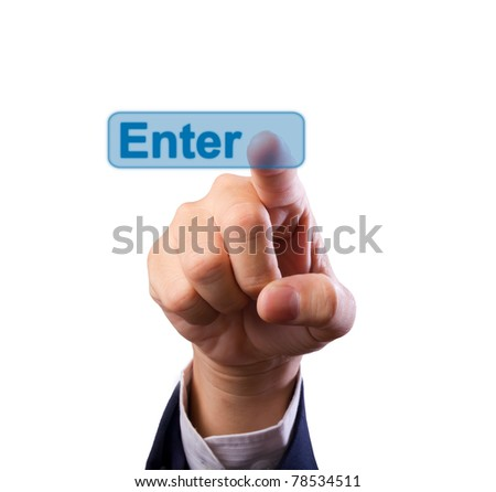business man hand pushing enter button isolated - stock photo