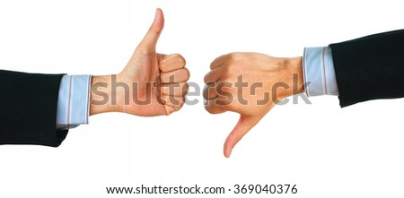 Business man hand showing gesture thumbs up and down sign. - stock photo