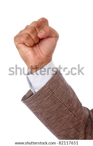 Business man hand showing symbol of success isolated on white. - stock photo