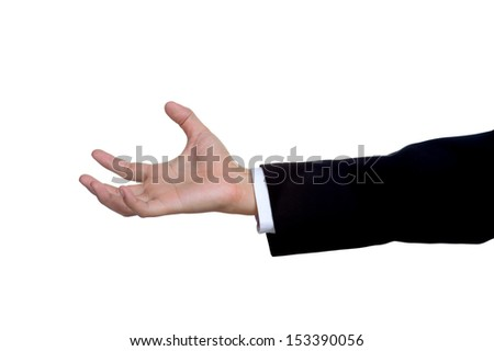 business man hand sign in suit  isolated