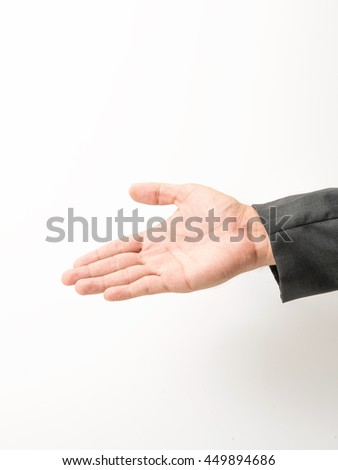 business man hand sign in suit isolated - stock photo
