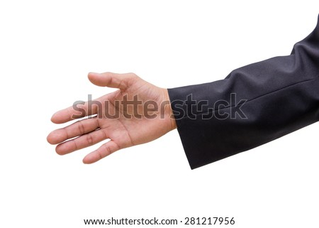 business man hand sign in suit isolated on white background.