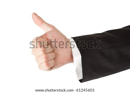 Business man hand thumbs up on white isolated background - stock photo