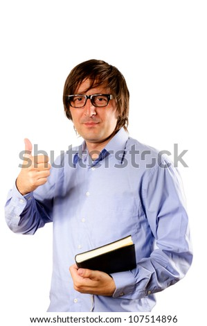 Business man hand with thumb up isolated - stock photo