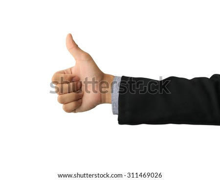 business man hand with thumb up isolated on white background - stock photo