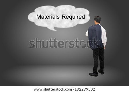 business man hand writing Materials Required - stock photo