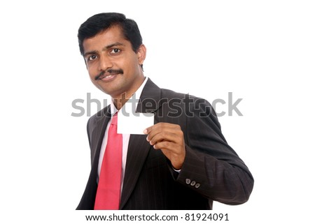 Business man handing a blank business card Isolated on white. - stock photo