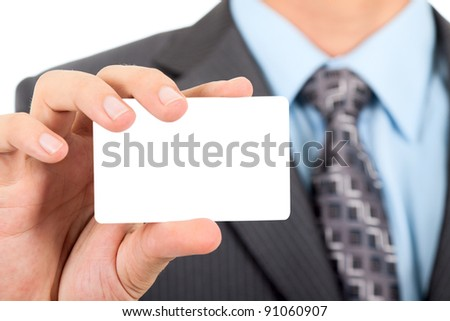 Business man handing a blank business card isolated over white background