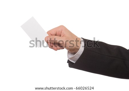 Business man handing a blank business card over white - stock photo