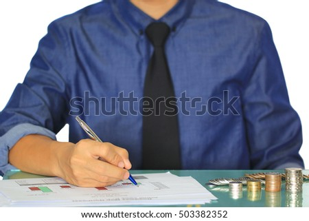 business man hands analysis with financial chart and coin on office table, investment and business concept.