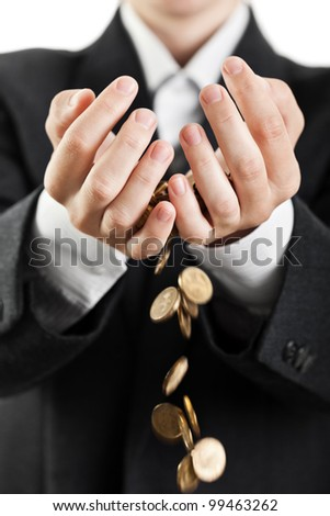 Business man hands holding finance currency coins - stock photo
