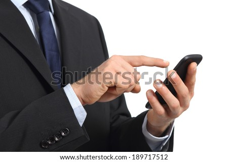 Business man hands touching a smart phone screen isolated on a white background