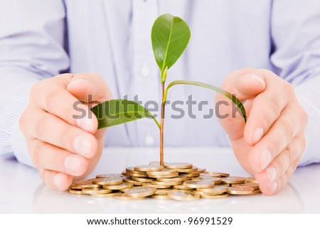 Business man hands with a tree growing from pile of coins - stock photo