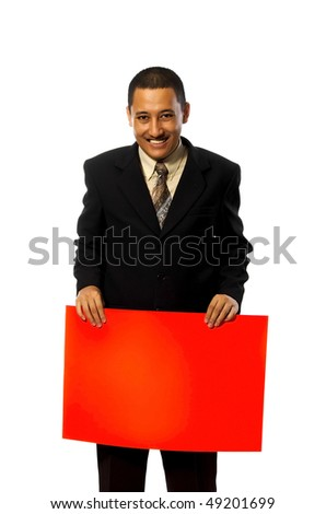 Business man hold a red blank sign isolated on white background. You can write your message on the red sign